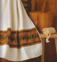 Банное полотенце с каймой