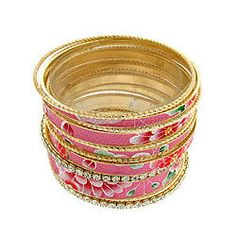 $13.00 - Floral Bangle Set. This is a set of 14 bangles as shown in photo. You can wear all at once or pick and choose. #PINKBangles #PINK #Bangles #PINKPixie #Nonprofit    All of our proceeds go to educating women in crisis. www.pinkpixie.org