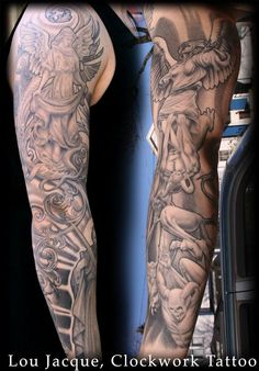 Warrior angel tattoos warrior angel tattoos for men for Battle between heaven and hell tattoo
