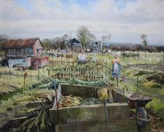 John Lines - English / Rugby (born (allotment, gardening) John Works, Leave Art, Eden Project, Summer Painting, Art Studies, Urban Landscape, Contemporary Paintings, Abandoned Places, Garden Art
