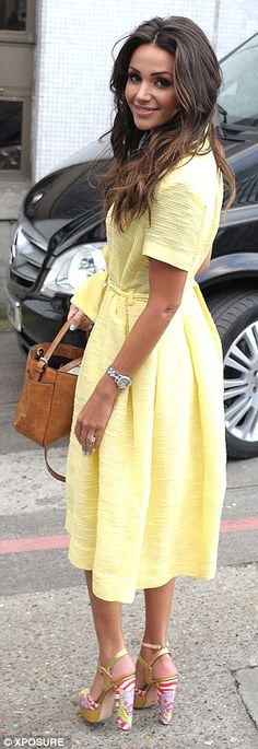 Ready for spring: The former Corrie star looked perfectly ladylike in her midi dress after...