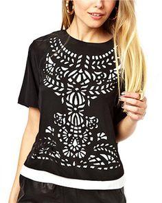 Black Chiffon Hollow Out Front Shirt @yoyomelodydress