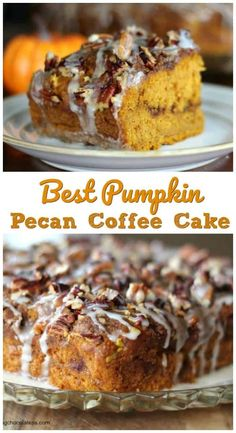 Best Pumpkin Pecan Coffee Cake - The most delicious, moist pumpkin coffee cake perfectly laced with cinnamon streusel, pecans and topped with a yummy browned butter glaze. Fall Desserts, Just Desserts, Dessert Recipes, Delicious Desserts, Health Desserts, Thanksgiving Desserts, Health Foods, Pumpkin Coffee Cakes, Pumpkin Dessert