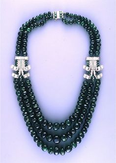 Cartier London Art Deco Diamond Emerald Necklace