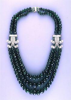 Cartier Art Deco Diamond Emerald Necklace
