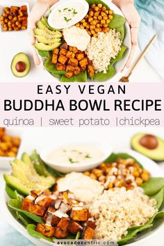 This easy vegan buddha bowl recipe is loaded with satisfying healthy toppings so it is comforting and delicious! It's gluten-free and perfect for meal-prep! Vegan Bowl Recipes, Vegetarian Recipes, Healthy Recipes, Healthy Meals, Healthy Food, Homemade Hummus, Homemade Sauce, Clean Recipes, Free Recipes