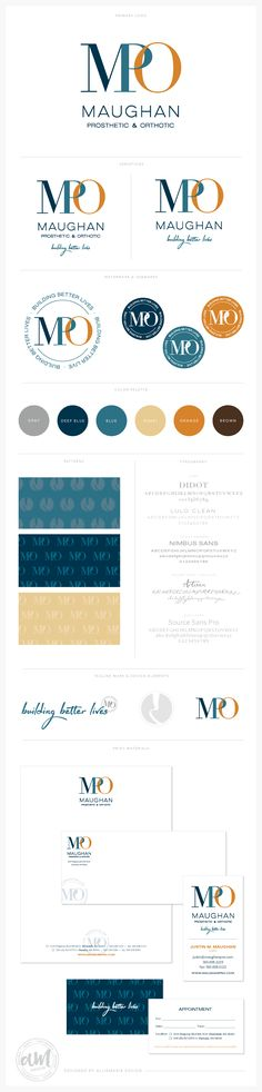 Brand Launch: Maughan Prosthetic & Orthotic by AllieMarie Design  //  Logo + Variations + Submarks + Watermarks + Color Palette + Patterns + Fonts + Business Card + Letterhead