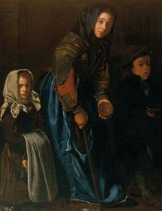 17th century with the denim skirt featured prominently in the painting Woman Begging with Two Children by an anonymous artist #denim