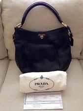 For SALE: Authentic Prada Vitello Daino Hobo Bag Nero Black. I have this listed on eBay