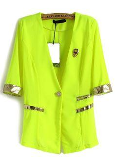 Green Skull Patchwork V-neck Half Sleeve Cotton Suit - Suits - Tops