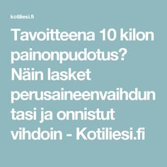 Tavoitteena 10 kilon painonpudotus? Näin lasket perusaineenvaihduntasi ja onnistut vihdoin - Kotiliesi.fi Yoga Fitness, Health Fitness, Get A Life, Get Started, Gym Workouts, Feel Good, Fitness Motivation, Exercise Motivation, Knowledge