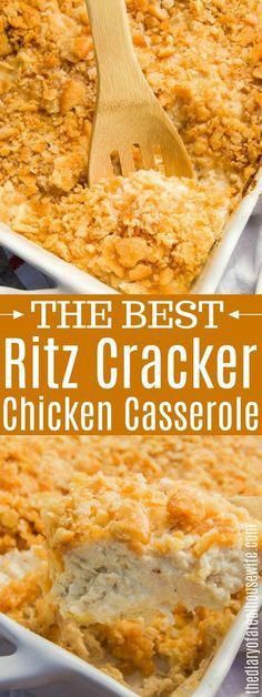 This Ritz Cracker Chicken Casserole has become a family favorite and one recipe that we will be having again and again. This Ritz Cracker Chicken Casserole has become a family favorite and one recipe that we will be having again and again. Easy Casserole Recipes, Crockpot Recipes, Cooking Recipes, Bean Casserole, Easy Dinner Casserole, Macaroni Recipes, Kid Recipes, Healthy Recipes, Cream Recipes