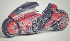 Akira - Kaneda's Power Bike by James Qiu on Behance Arch Motorcycle, Motorcycle Types, Motorcycle Design, Bike Design, Custom Choppers, Custom Motorcycles, Custom Bikes, Stunt Bike, Cyberpunk