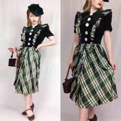 Vintage 1940s Green Velvet And Plaid Dress With Mother Of Pearl Buttons    eBay