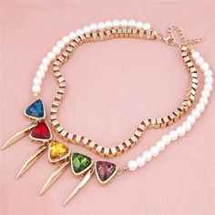 Colorful Gems Inlaid with Teeth Pendants Metallic and Pearl Dual Layer Necklace