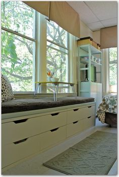Window Seat Built From Ikea Refrigerator Cabinets Complete With
