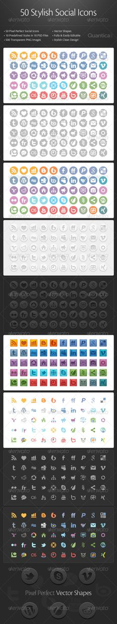 This is a set of 50 Stylish Social Icons in organized, layeredPSDfiles. This set contains 10 predefined styles for dark and for li