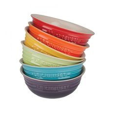 Le Creuset Rainbow Cereal Bowl Set Of Six ($110) ❤ liked on Polyvore featuring home, kitchen & dining, dinnerware, le creuset cereal bowl, le creuset e le creuset dinnerware