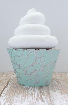 Tiffany Blue Glitter Cupcake Wrappers Mint Blue Cupcake