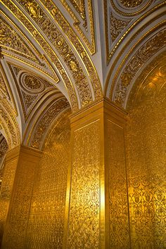 The Gold - Details of the wall at the Gold Drawing-room of Hermitage museum (Saint Petersburg, Russia). Photo:  Constantine Zuev