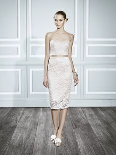 Sexy lace crop top reception dress | Style T691 | Moonlight Tango // #SuzannesBridalBoutique #Fall2015