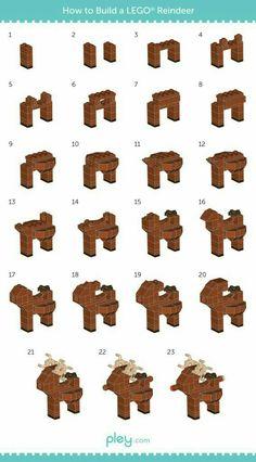Cómo hacer un reno con Lego LEGO How-to Build: Sleigh and Reindeer Pley toy rental Lego Winter, Lego Duplo, Lego Christmas Ornaments, Christmas Fun, Xmas, Reindeer Christmas, Legos, Lego Hacks, Van Lego