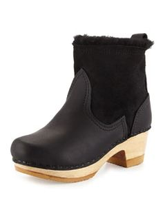 No. 6 Water-Repellant Shearling & Leather Clog Bootie