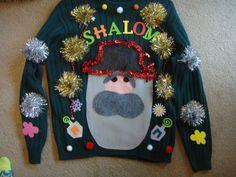 man's hanukkah sweater jewish ugly christmas sweater man's large green decotation garland by keriblue4 on Etsy