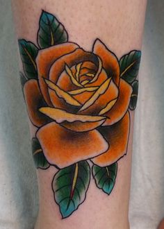 tattoo old school / traditional ink - yellow flower (by Virginia Elwood Tattoo)