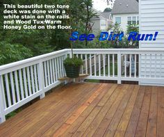 two tone white and honey deck