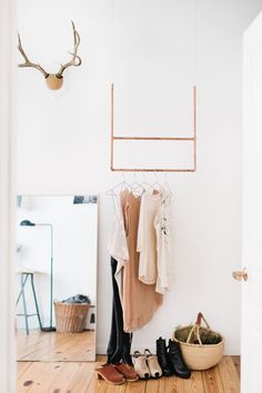 Madelynn Furlong's Minneapolis Apartment Tour // Scandinavian design // photo by Canary Grey Photography Minneapolis Apartment, Creative Closets, Diy Rangement, Clothes Rail, Hanging Clothes, Clothes Hangers, Clothes Storage, Small Space Solutions, Garment Racks