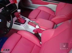 Hello Kitty style BMW 325 convertible, not so sure how I feel about the shift knob but the upholstery color is lovely