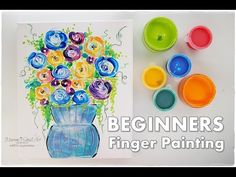 Finger Painting Flowers in a Vase ♡ BEGINNERS Technique ♡ Maremi's Small...