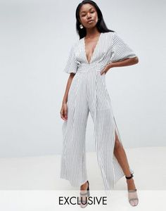 Parallel Lines Plunge Front Jumpsuit With Wide Leg Splits In Stripe