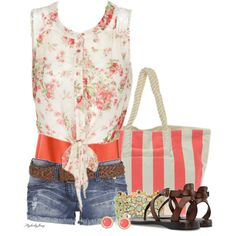 """Stripes n' Floral - Green n' Coral"" by stylesbyjoey on Polyvore"