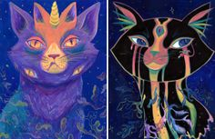 """Galactic Kitties"" Kristen Wright Victoria, British Columbia, Canada  #cat #catart #cats #art #illustration #painting"