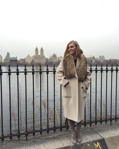 Winter Coat with fur and Tall Grey Boots. AnnaSophia Robb