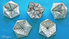 Hattifant's new series of Kaleidocycles Flextangles a mechanical papertoy to color and craft fre Origami Stars, Origami Fish, Dollar Origami, Origami Ball, Oragami, Origami Flowers, Paper Crafts For Kids, Arts And Crafts, Origami Paper Art