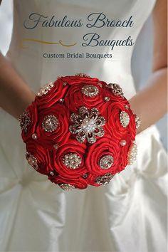 Red Brooch Bouquet,, Satin Flower Brooch Bouquet by Fabulous Brooch Bouquets