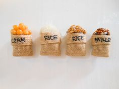 4 Pcs Of Mix Seed Fridge Magnet / Corn, Rice Seed, Raw Rice, Mullet Seed Magnet / Seed Burlap Fabric Sack Magnet / Seeds/ Food / Magnet by Punyee on Etsy