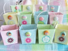 12 birthday party /garden or tea party soft pastel flower and button keepsake gift boxes by SparkleandComfort, $12.99
