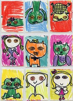 Art Projects for Kids: Crazy Reptile Art Trading Cards. Free Reptile Eye template download.
