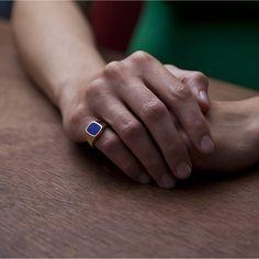 14ct Yellow Gold Signet Ring - Stone Cushion Lapis | Rebus Signet Rings | Rebus Signet Rings