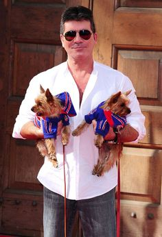 Simon Cowell with his Yorkshire terriers, Squiddly and Diddly.