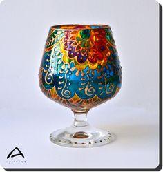 hand-painted colour-bomb glass candle holder with Indian mehndi motives  • kézzel festett tiri-tarka üveg mécsestartó indiai motívumokkal díszítve