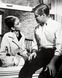 """Audrey Hepburn and George Peppard in """"Breakfast At Tiffany's""""."""