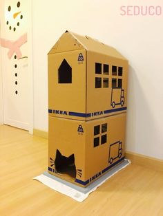 Cat house from IKEA cardboard box Cat house from IKEA cardboard box The post Cat house from IKEA cardboard box appeared first on Katzen. Cardboard Cat House, Insulated Dog House, Cat House Diy, Diy Cat Toys, Cat Hacks, Puppy House, Ideias Diy, Cat Condo, Cat Accessories