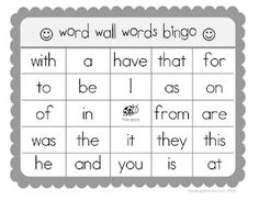 Sight Word Bingo game - also includes blank template