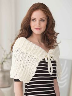 This ribbed capelet is made with just one ball of Pound of Love® -- wear it to the park or to lunch with friends.