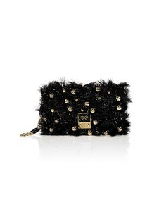 <3 <3 <3... love..  ANYA HINDMARCH Coal Tinsel Carker Clutch with Bells